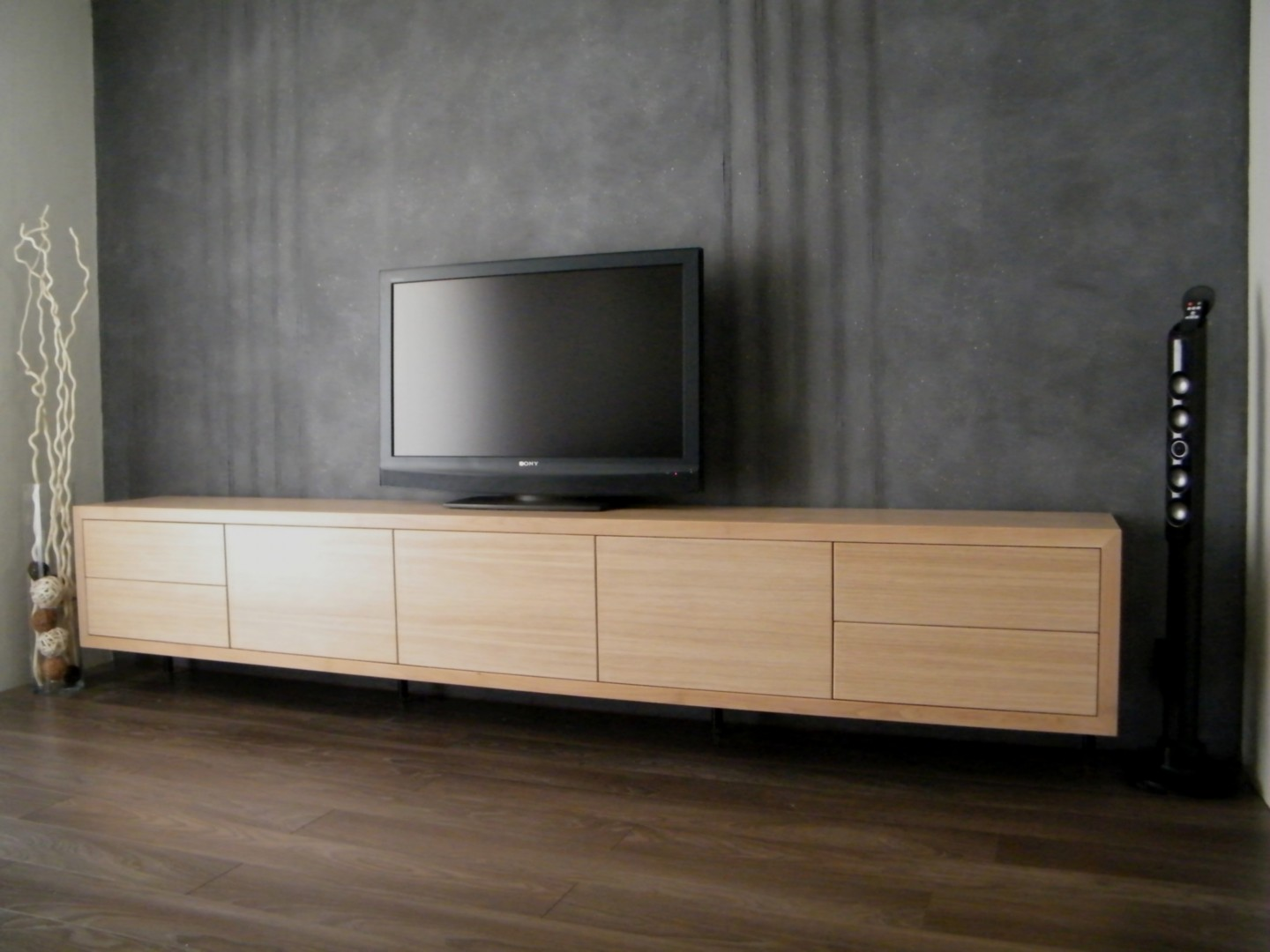 Meuble tv bas contemporain for Meuble tv blanc bas